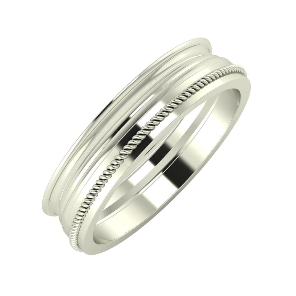 Agrippína - Aida - Afrodité 5mm 18 karátos fehér arany karikagyűrű