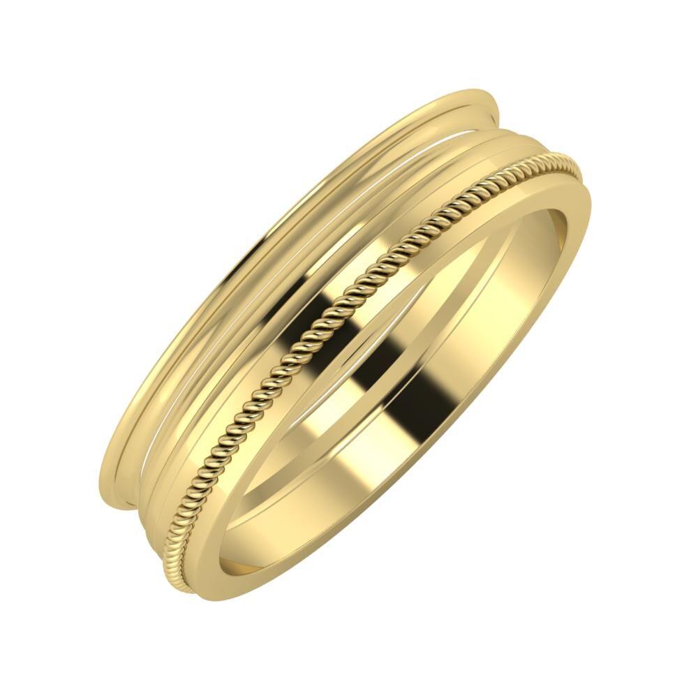 Agrippína - Aida - Afrodité 5mm 14 karátos sárga arany karikagyűrű