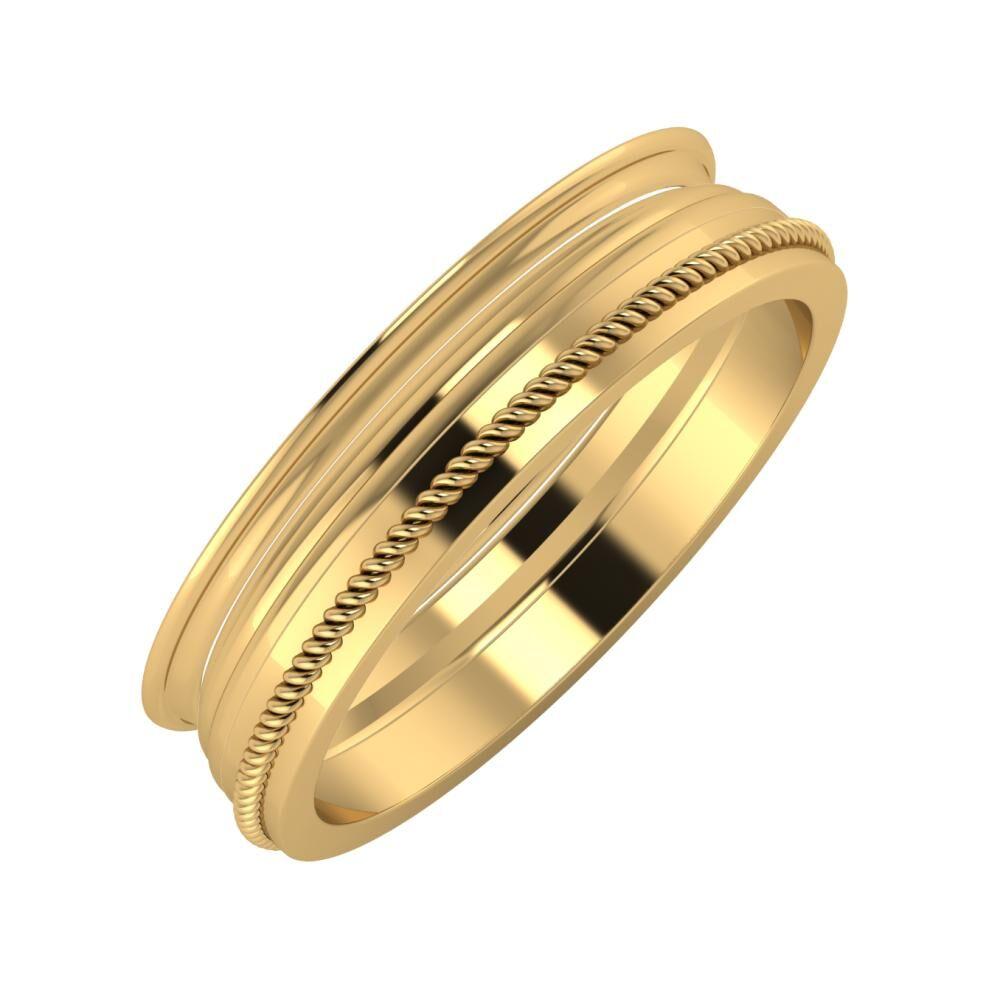 Agrippína - Aida - Afrodité 5mm 18 karátos sárga arany karikagyűrű