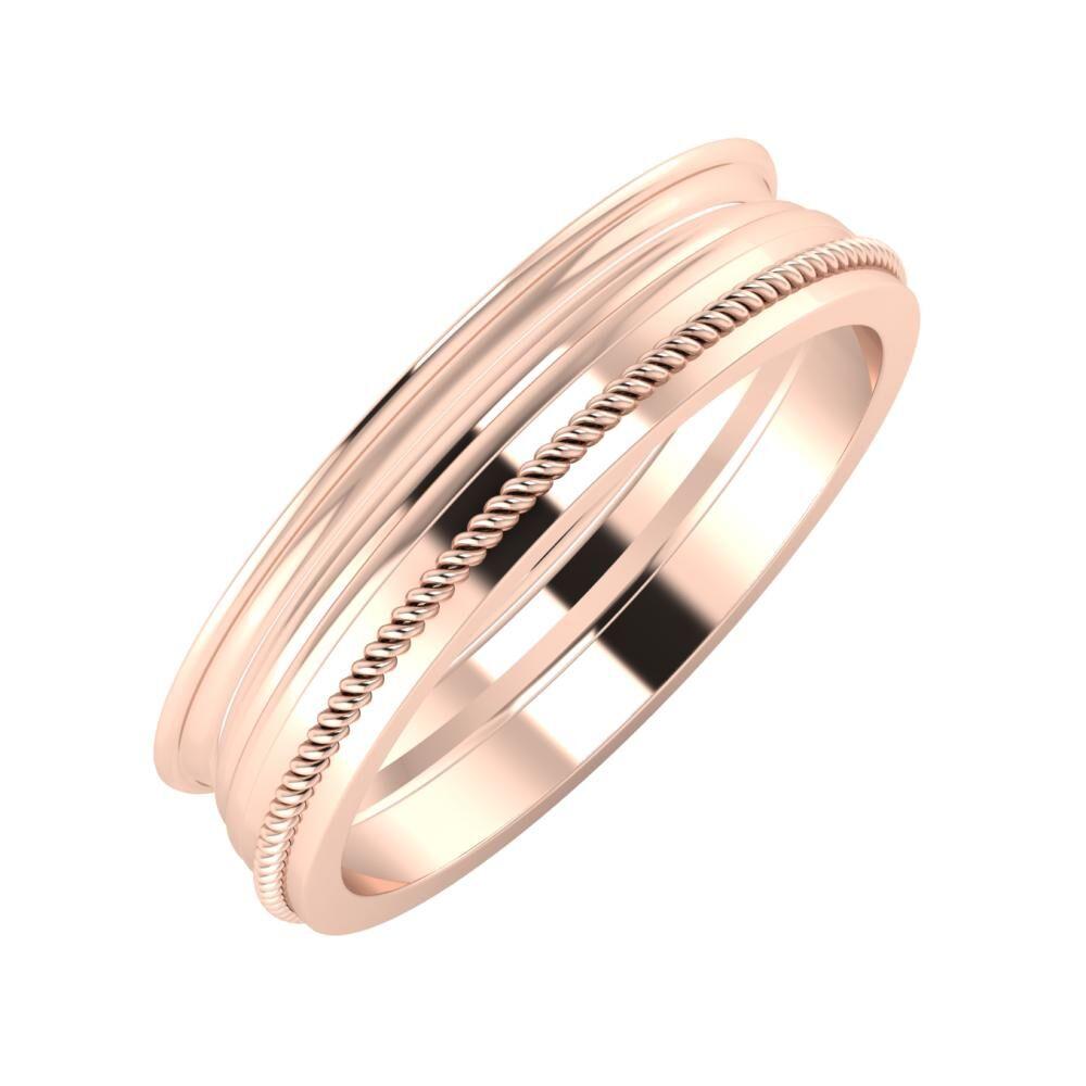 Agrippína - Aida - Afrodité 5mm 14 karátos rosé arany karikagyűrű