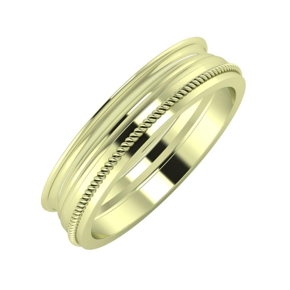 Agrippína - Aida - Afrodité 5mm 14 karátos zöld arany karikagyűrű