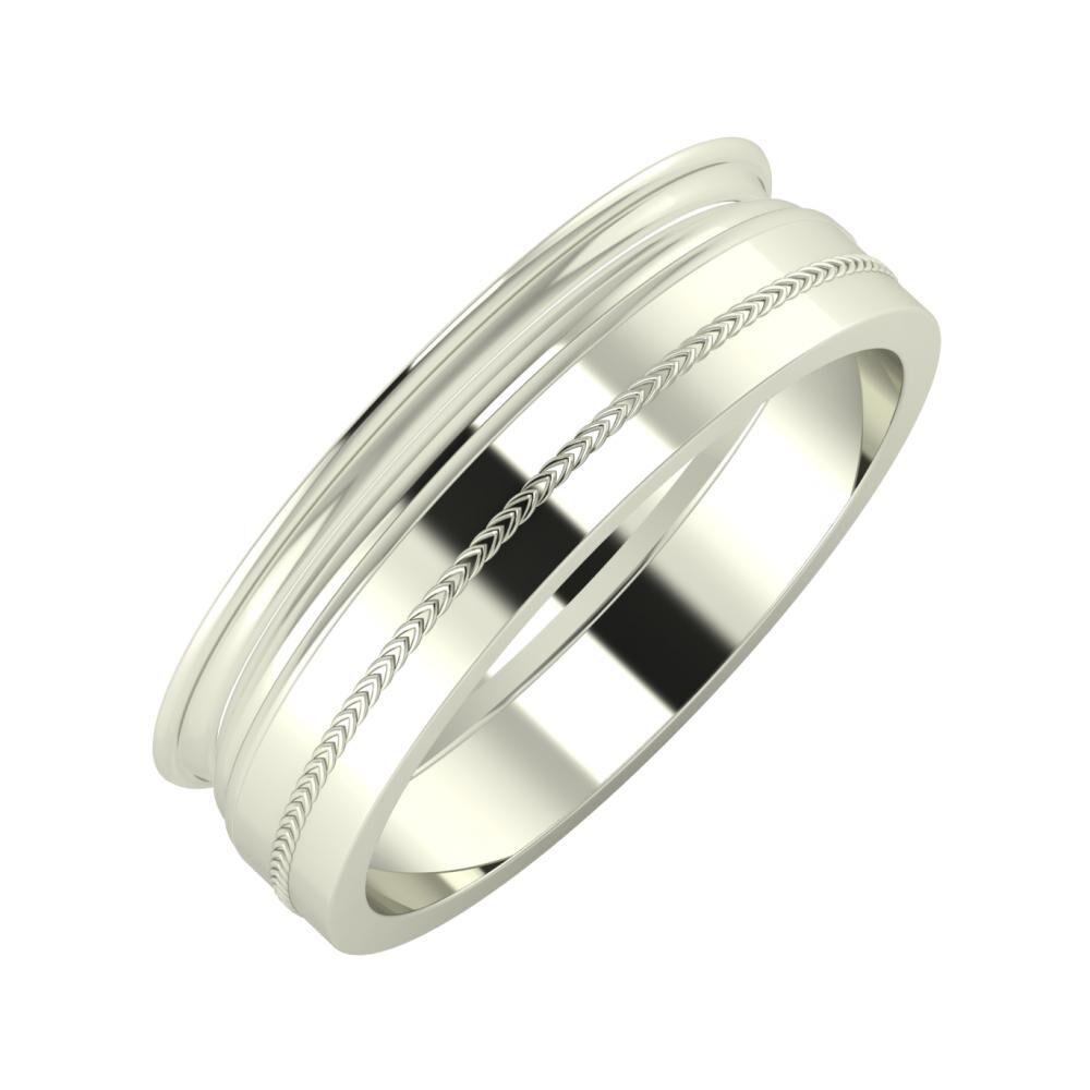 Agrippína - Aida - Agáta 6mm 14 karátos fehér arany karikagyűrű