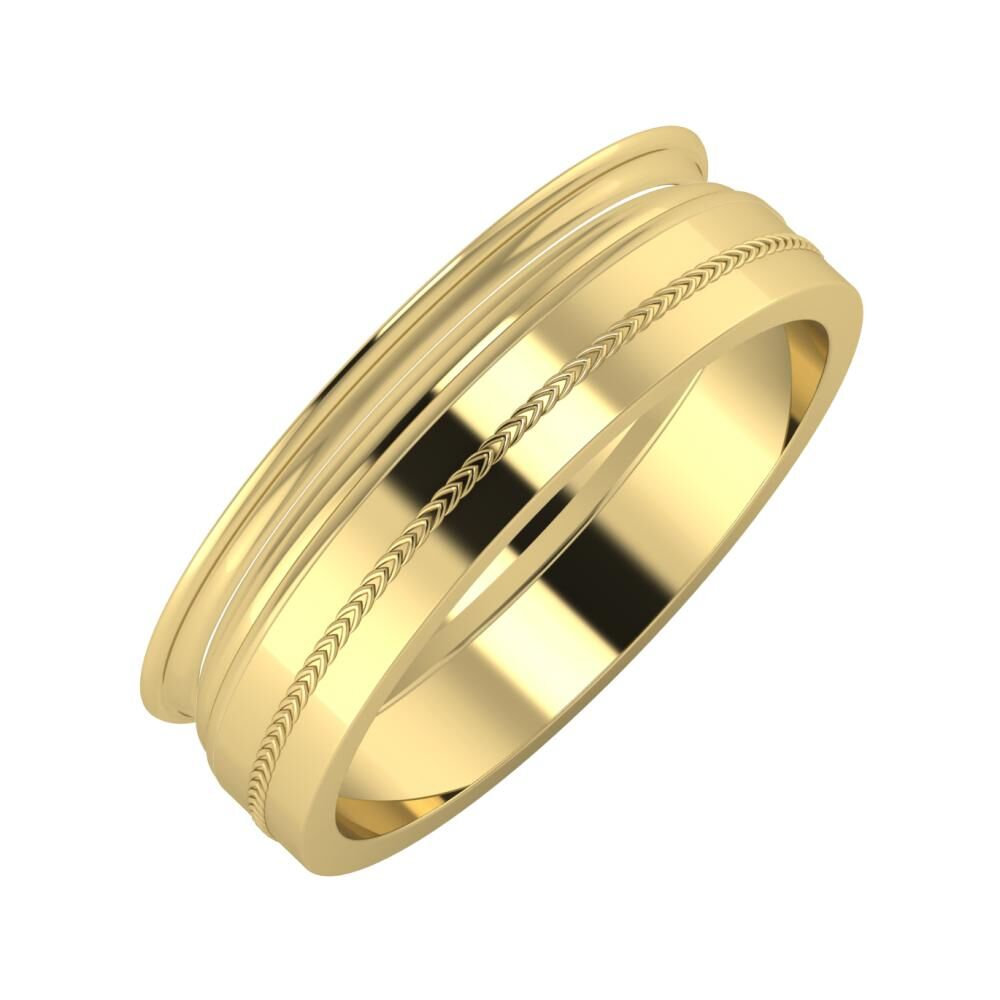 Agrippína - Aida - Agáta 6mm 14 karátos sárga arany karikagyűrű