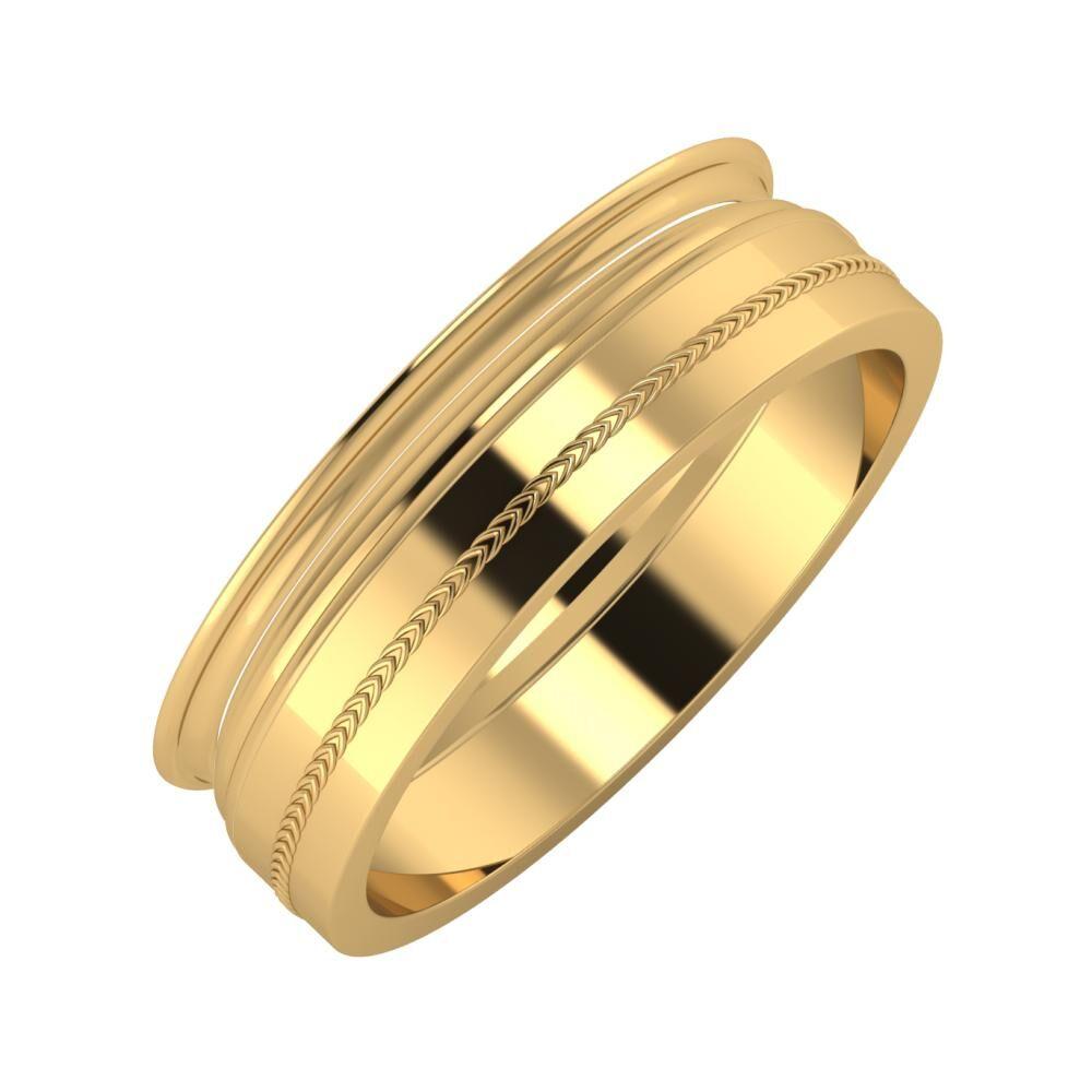 Agrippína - Aida - Agáta 6mm 18 karátos sárga arany karikagyűrű