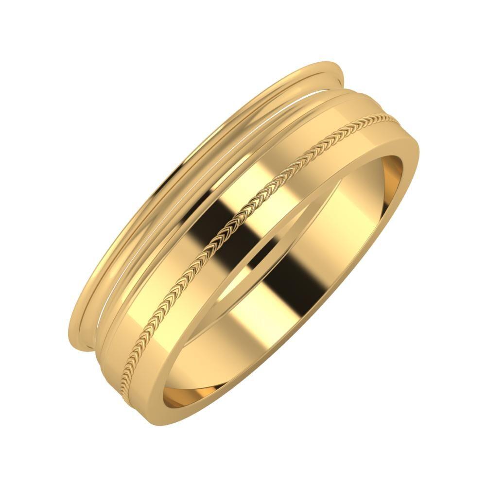Agrippína - Aida - Agáta 6mm 22 karátos sárga arany karikagyűrű
