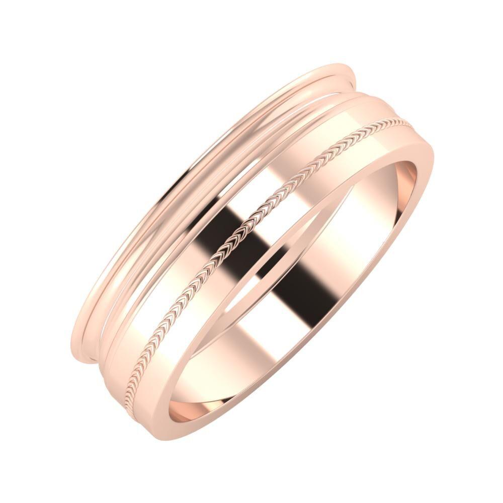Agrippína - Aida - Agáta 6mm 14 karátos rosé arany karikagyűrű