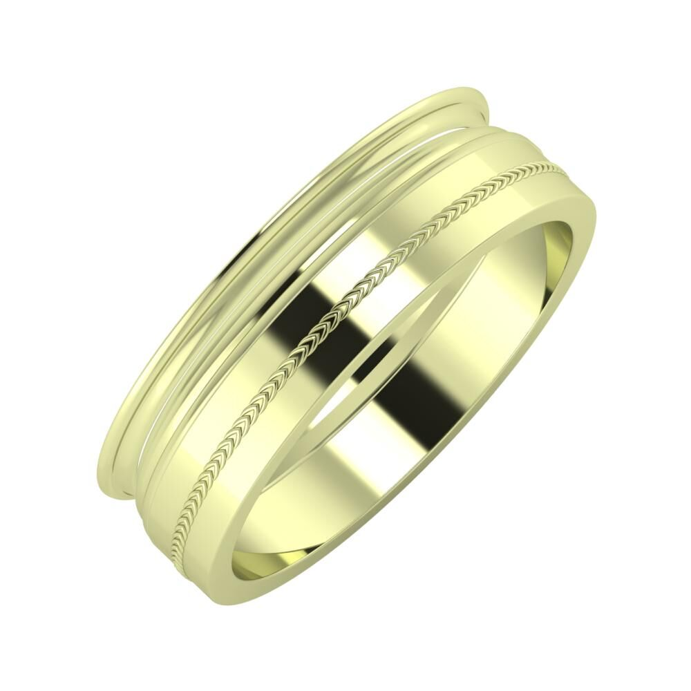 Agrippína - Aida - Agáta 6mm 14 karátos zöld arany karikagyűrű