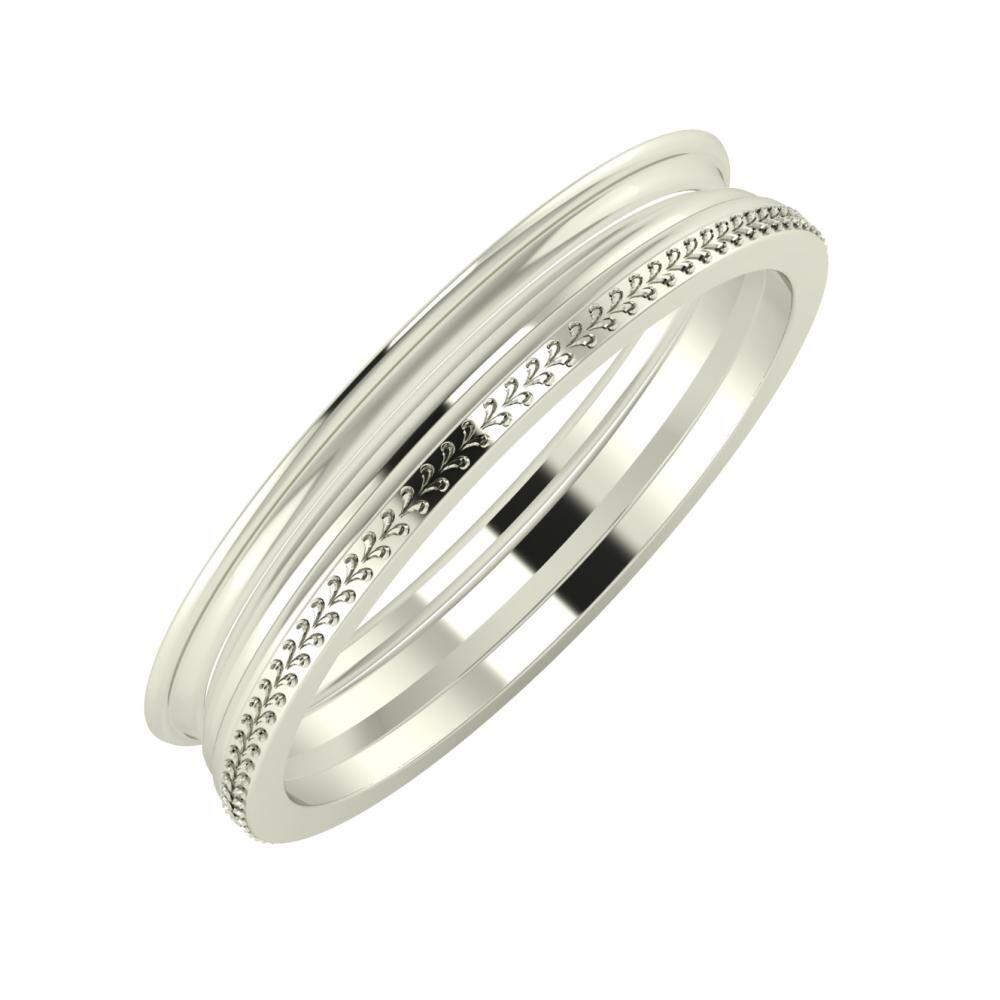 Agrippína - Aida - Aglája 4mm 14 karátos fehér arany karikagyűrű