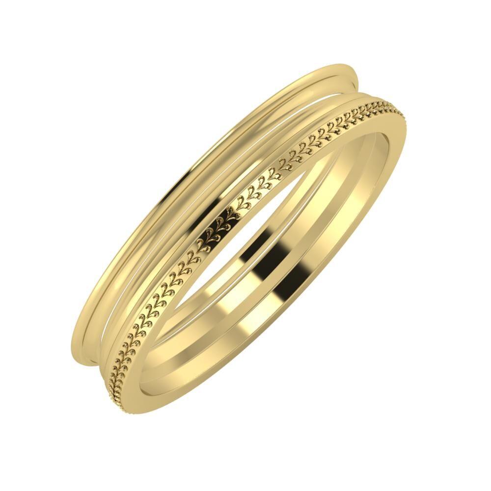 Agrippína - Aida - Aglája 4mm 14 karátos sárga arany karikagyűrű