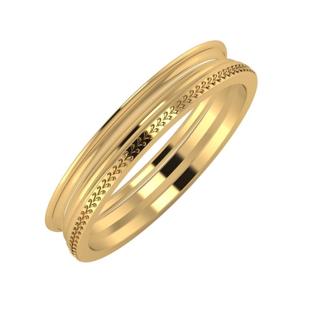 Agrippína - Aida - Aglája 4mm 22 karátos sárga arany karikagyűrű