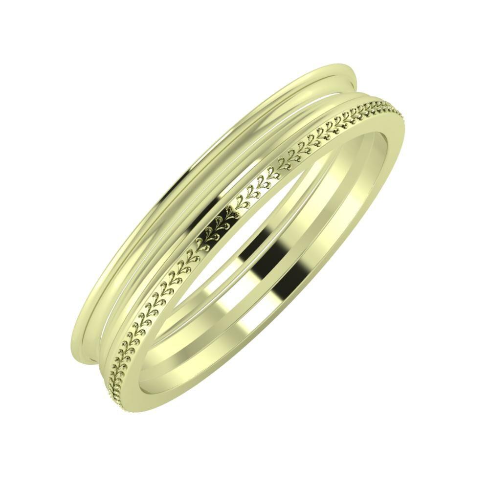 Agrippína - Aida - Aglája 4mm 14 karátos zöld arany karikagyűrű