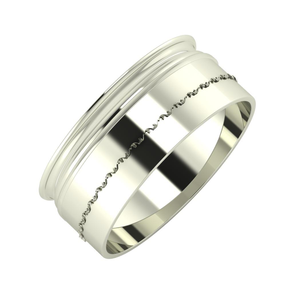 Agrippína - Aida - Agnabella 8mm 18 karátos fehér arany karikagyűrű