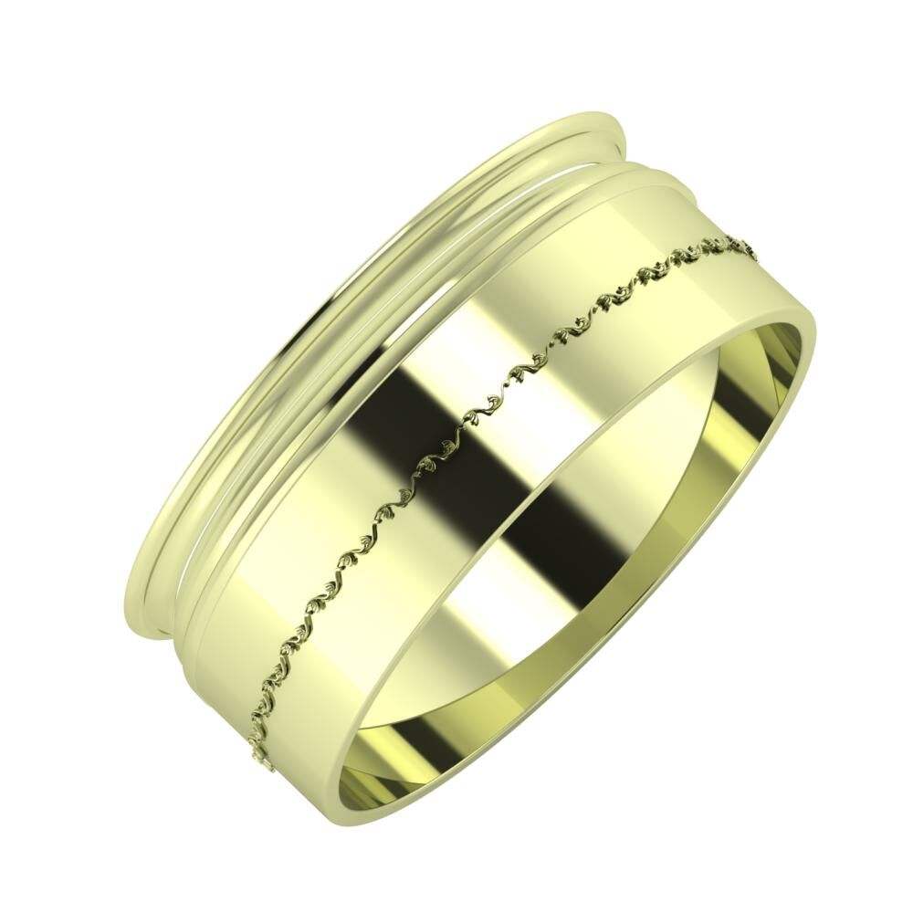 Agrippína - Aida - Agnabella 8mm 14 karátos zöld arany karikagyűrű