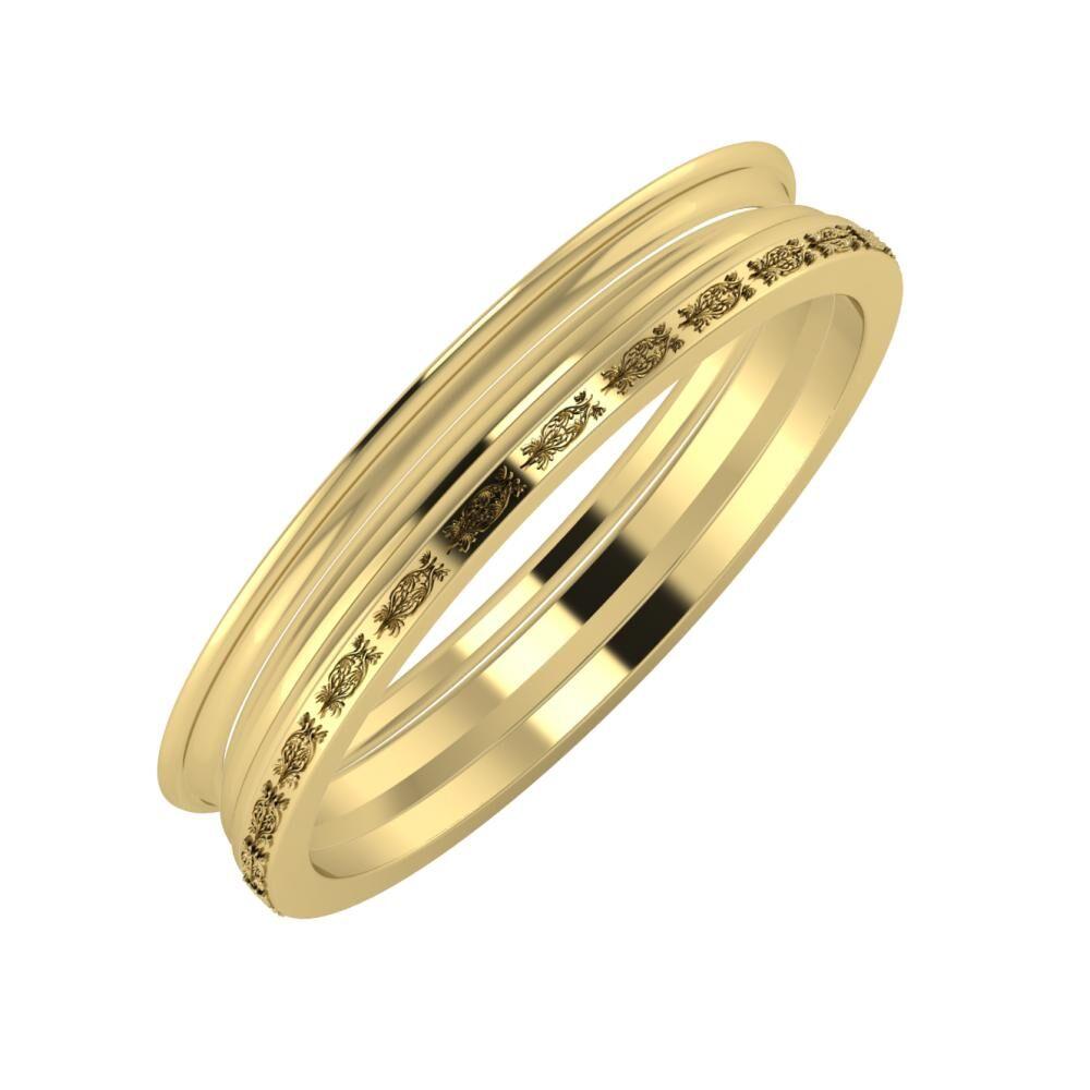 Agrippína - Aida - Agnella 4mm 14 karátos sárga arany karikagyűrű