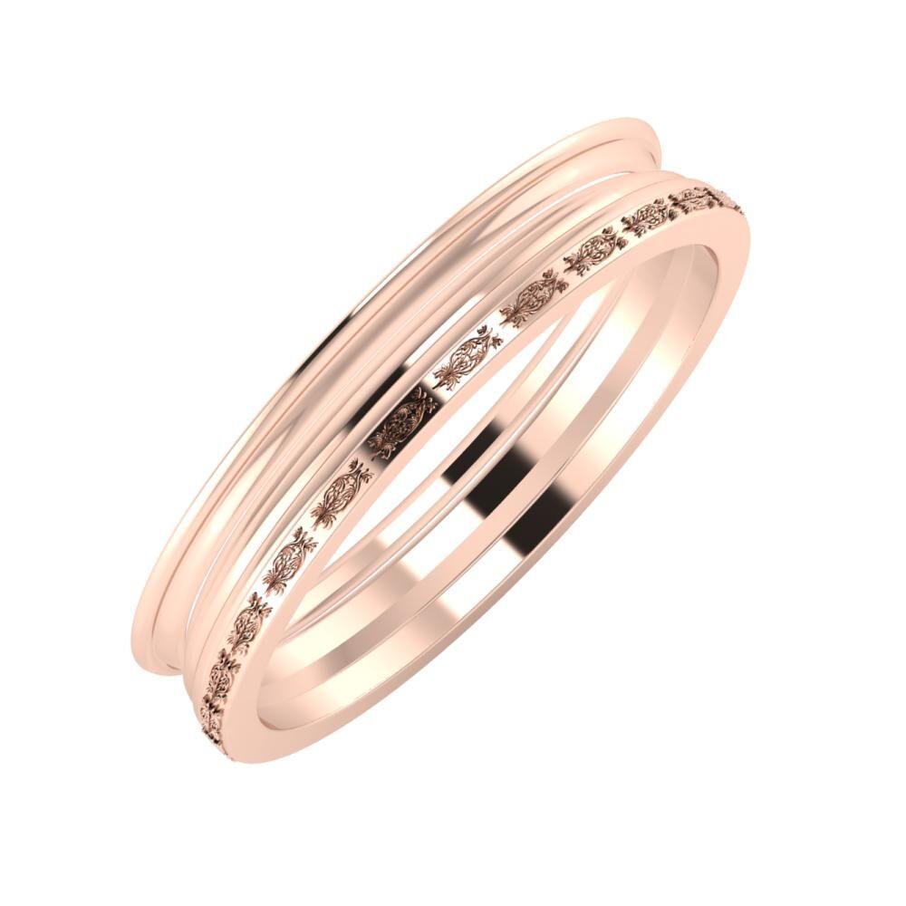 Agrippína - Aida - Agnella 4mm 14 karátos rosé arany karikagyűrű