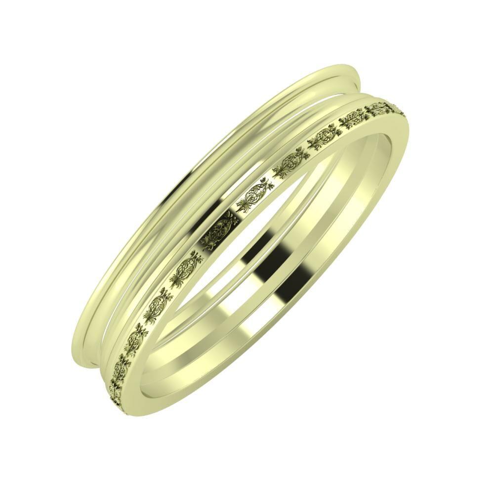 Agrippína - Aida - Agnella 4mm 14 karátos zöld arany karikagyűrű