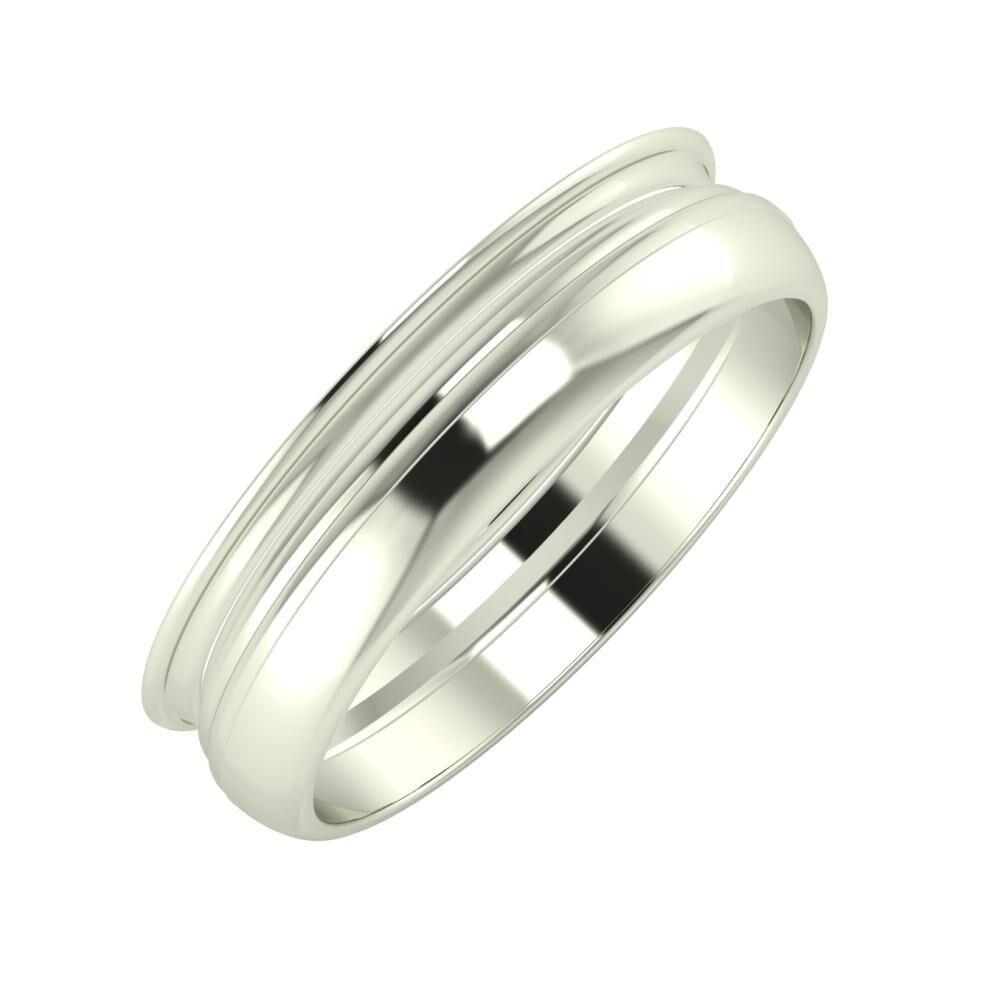 Agrippína - Aida - Ágosta 5mm 14 karátos fehér arany karikagyűrű