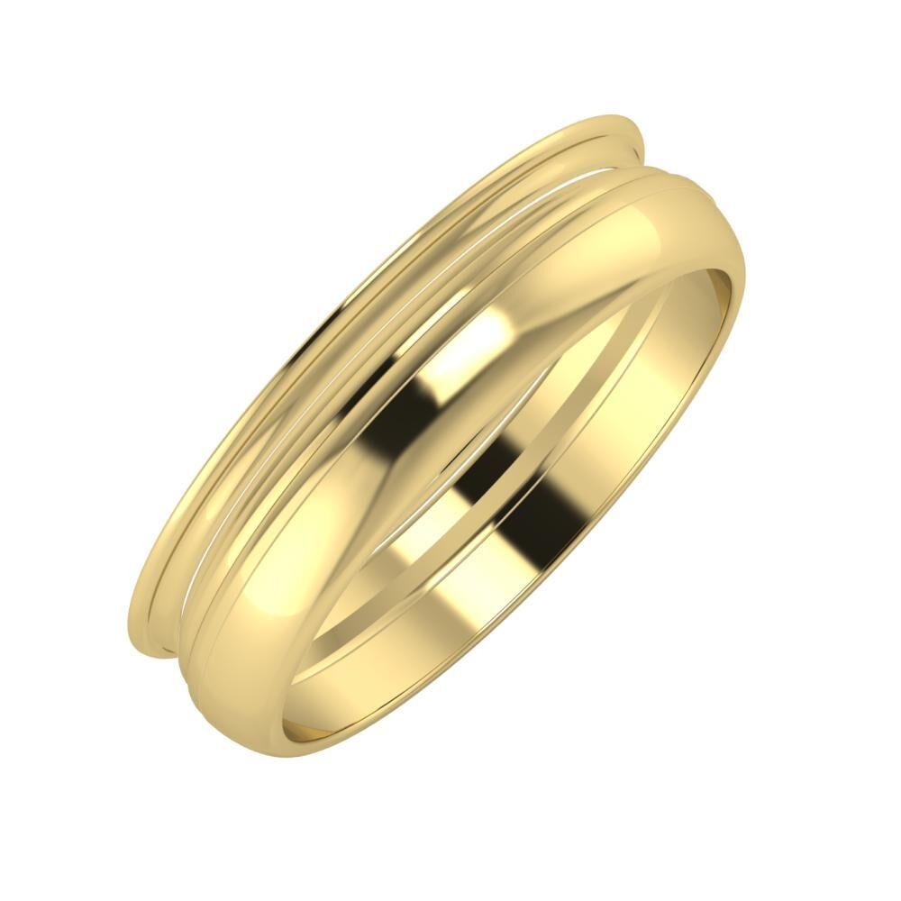 Agrippína - Aida - Ágosta 5mm 14 karátos sárga arany karikagyűrű
