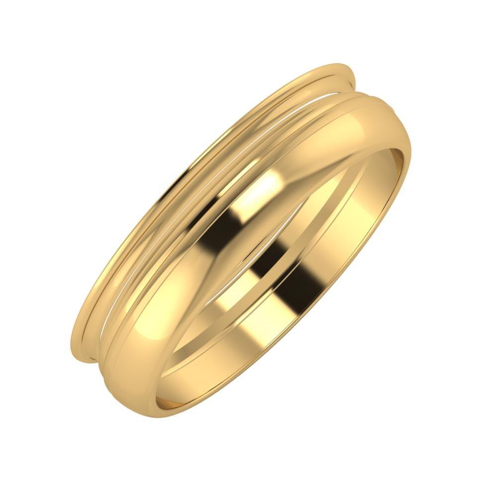 Agrippína - Aida - Ágosta 5mm 22 karátos sárga arany karikagyűrű