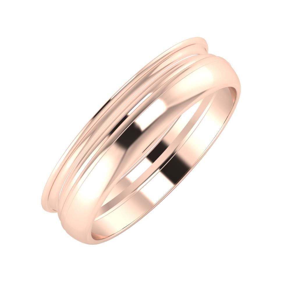 Agrippína - Aida - Ágosta 5mm 14 karátos rosé arany karikagyűrű