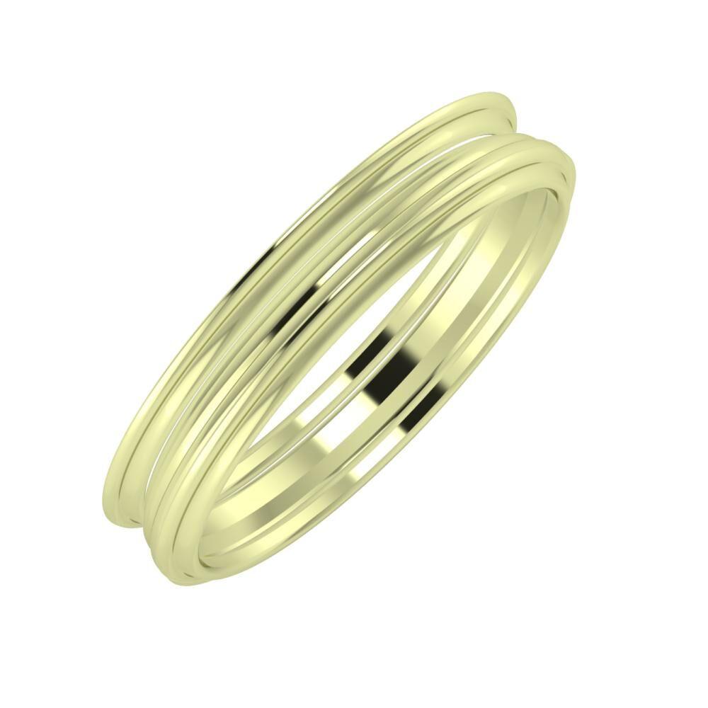 Agrippína - Aida - Agrippína 4mm 14 karátos zöld arany karikagyűrű