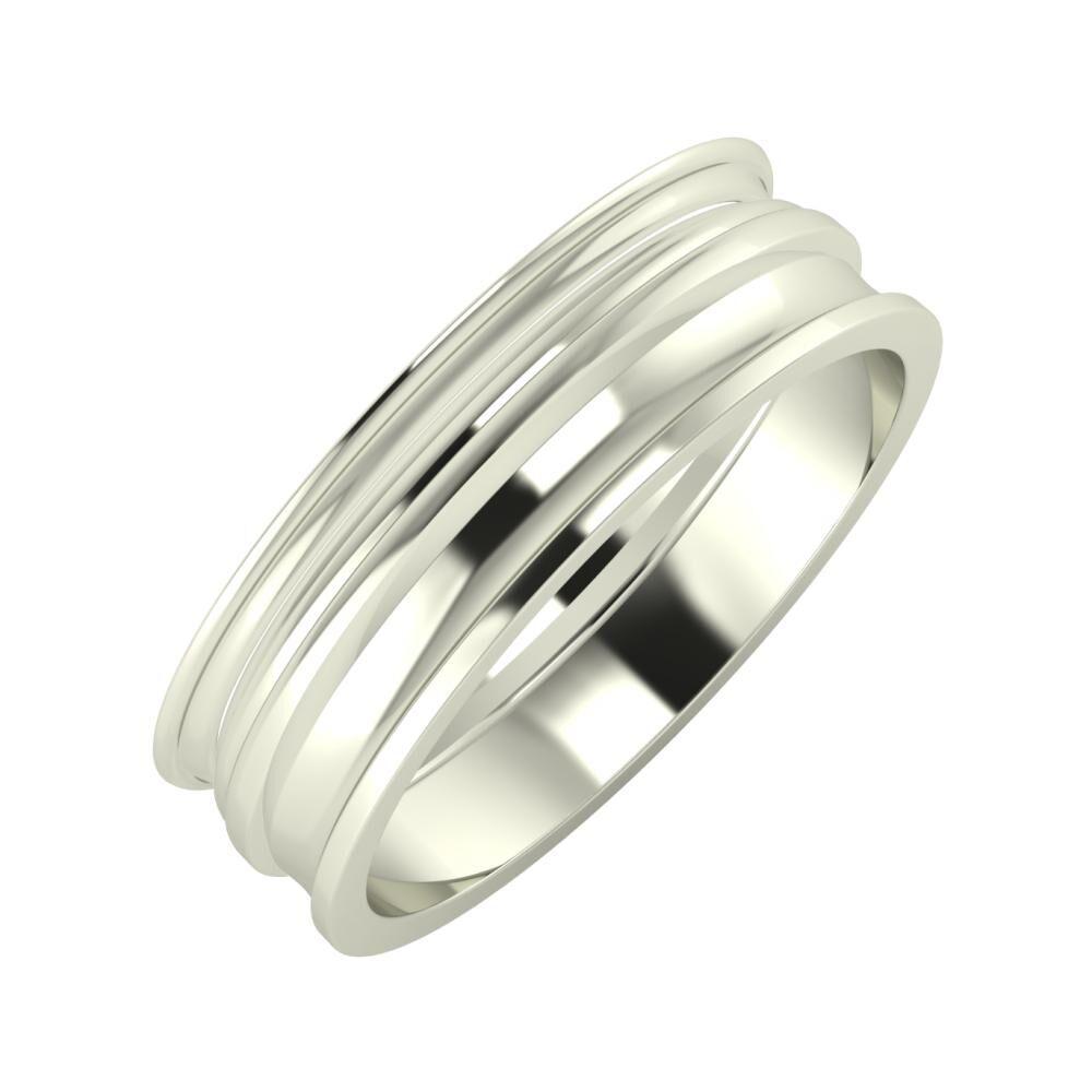 Agrippína - Aida - Ainó 6mm 14 karátos fehér arany karikagyűrű