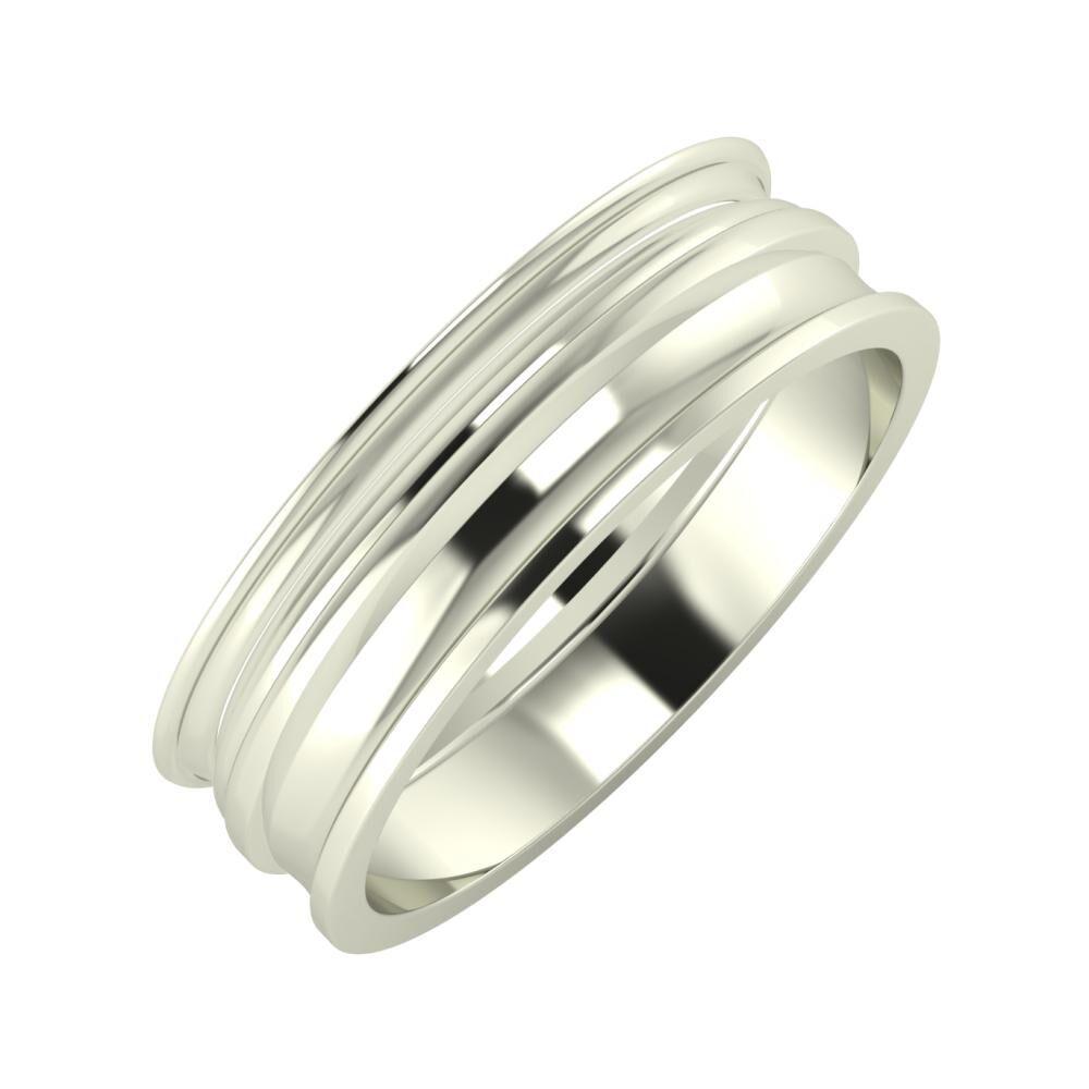 Agrippína - Aida - Ainó 6mm 18 karátos fehér arany karikagyűrű