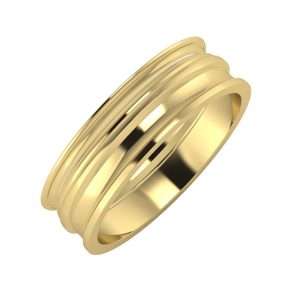 Agrippína - Aida - Ainó 6mm 14 karátos sárga arany karikagyűrű