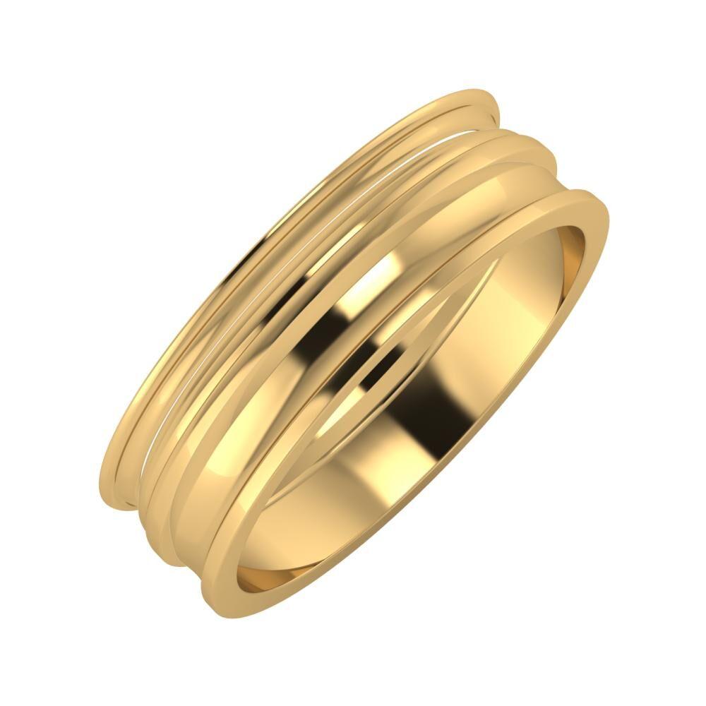 Agrippína - Aida - Ainó 6mm 22 karátos sárga arany karikagyűrű