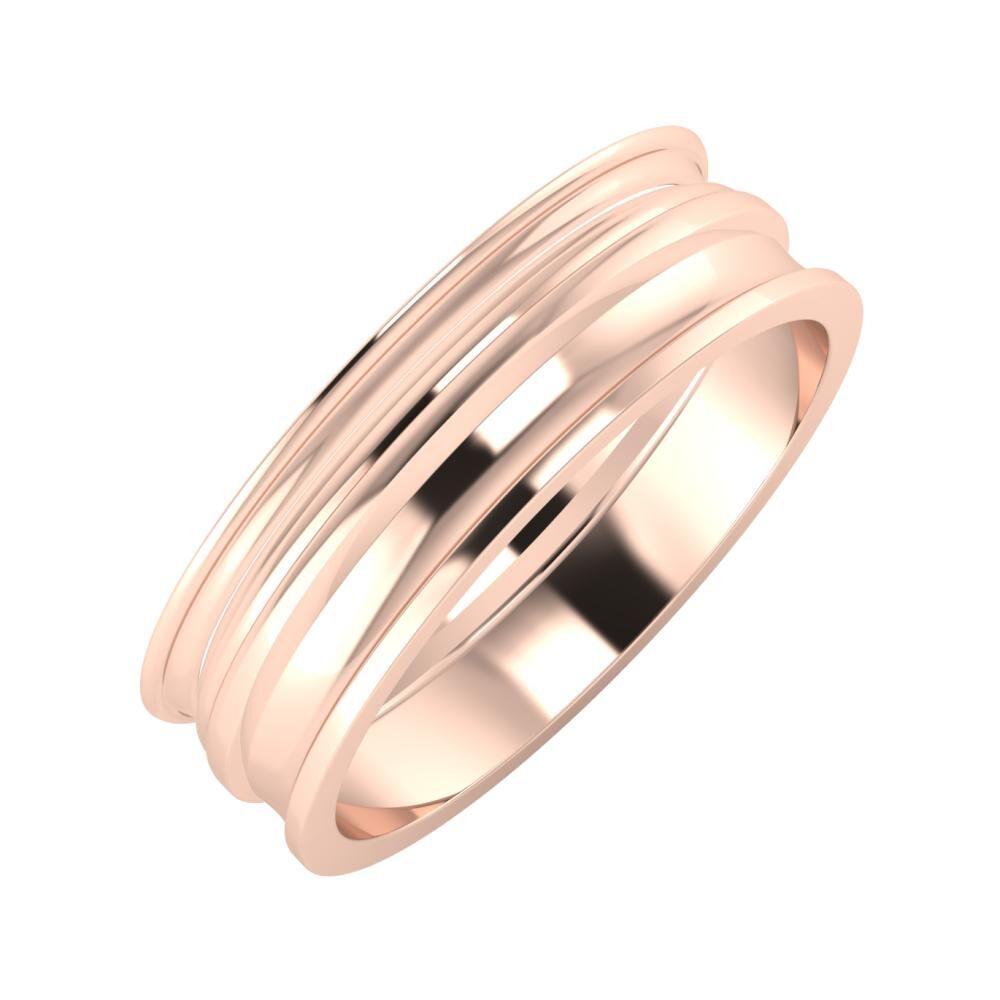 Agrippína - Aida - Ainó 6mm 14 karátos rosé arany karikagyűrű