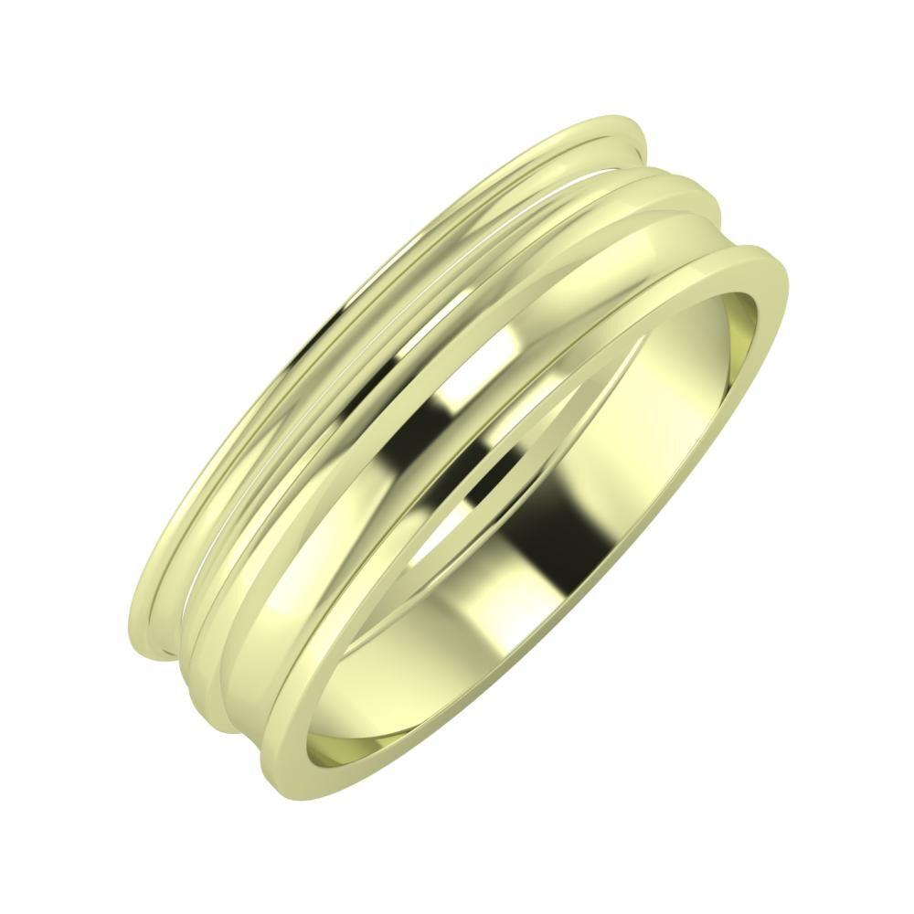 Agrippína - Aida - Ainó 6mm 14 karátos zöld arany karikagyűrű