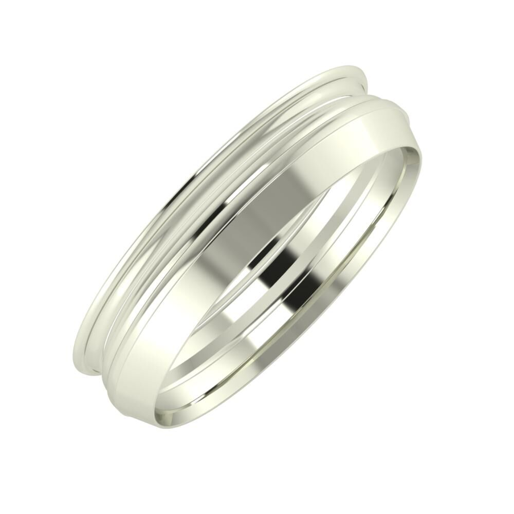 Agrippína - Aida - Aisah 5mm 14 karátos fehér arany karikagyűrű