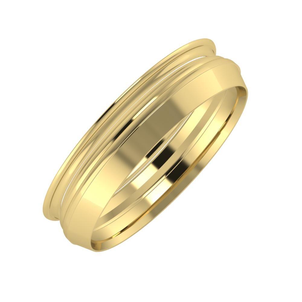 Agrippína - Aida - Aisah 5mm 14 karátos sárga arany karikagyűrű