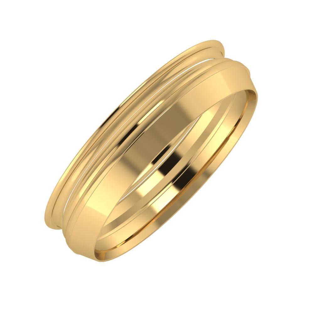 Agrippína - Aida - Aisah 5mm 18 karátos sárga arany karikagyűrű