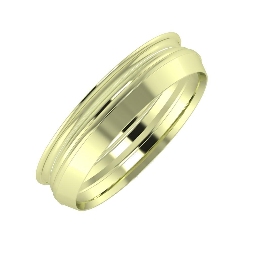 Agrippína - Aida - Aisah 5mm 14 karátos zöld arany karikagyűrű