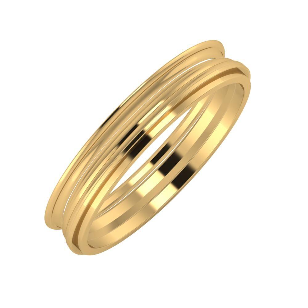 Agrippína - Aida - Ájlin 4mm 18 karátos sárga arany karikagyűrű