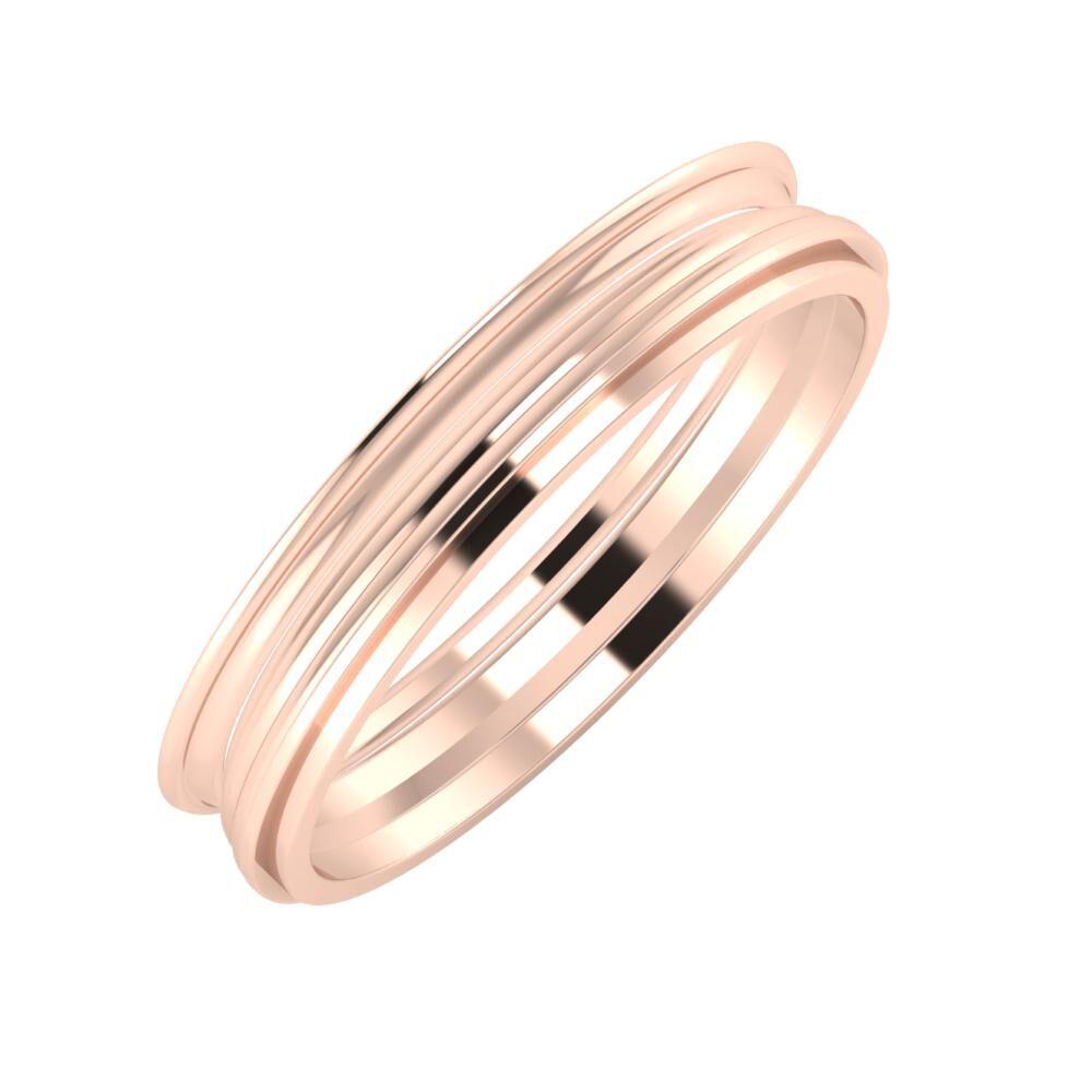 Agrippína - Aida - Ájlin 4mm 14 karátos rosé arany karikagyűrű