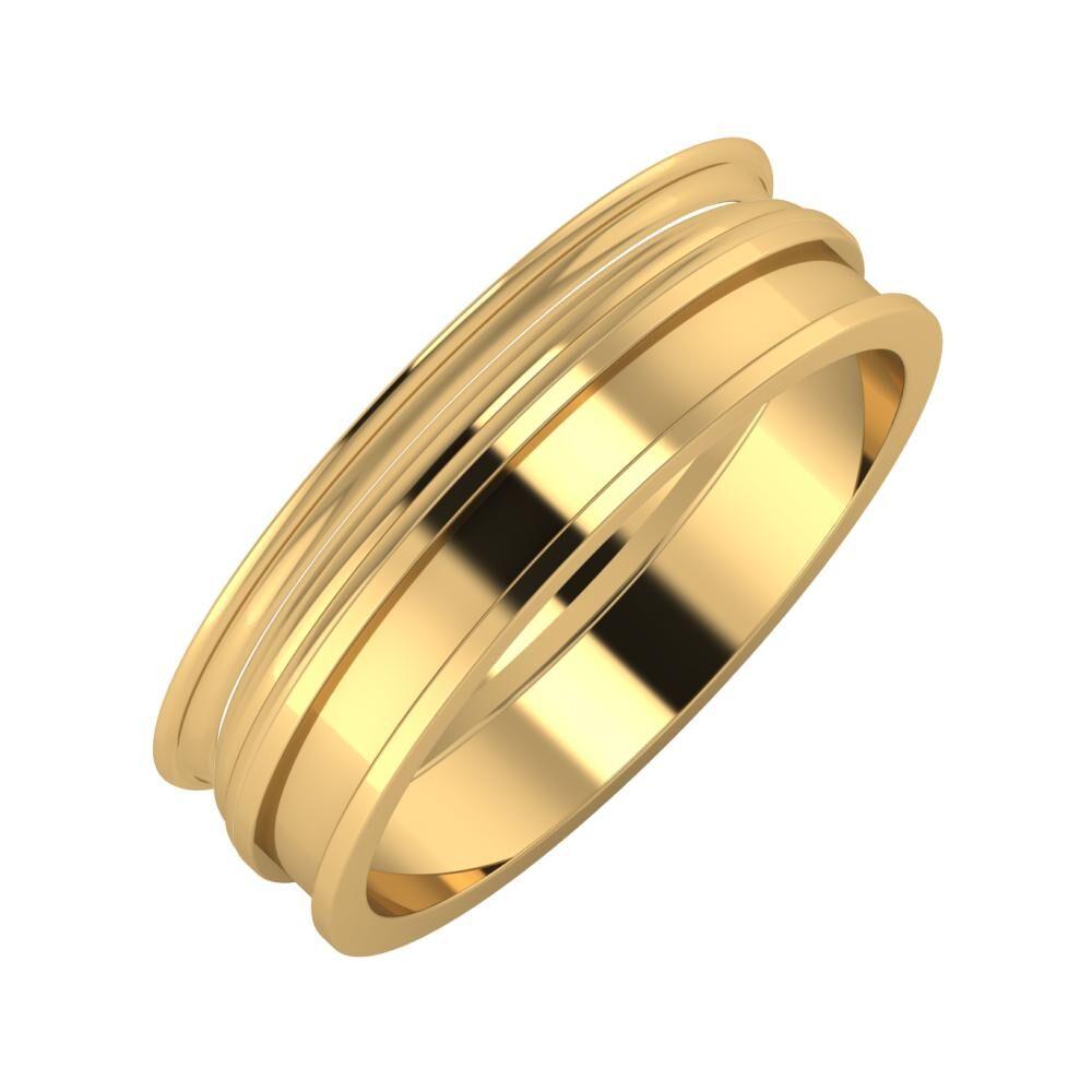 Agrippína - Aida - Ajnácska 6mm 18 karátos sárga arany karikagyűrű