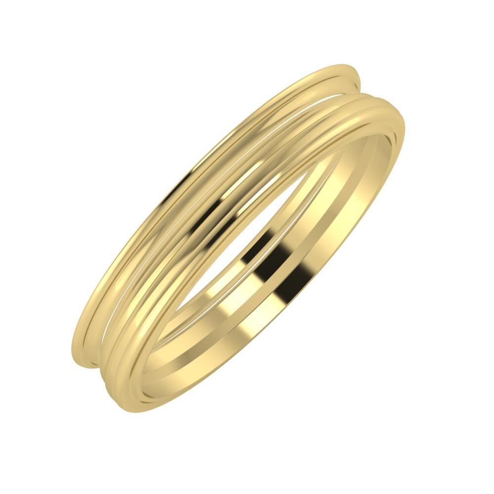 Agrippína - Aida - Ajra 4mm 14 karátos sárga arany karikagyűrű