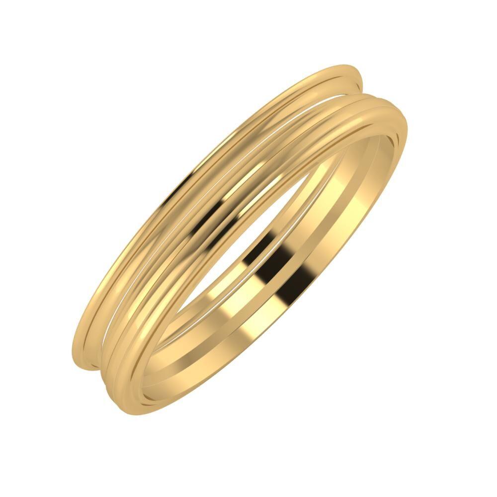 Agrippína - Aida - Ajra 4mm 18 karátos sárga arany karikagyűrű