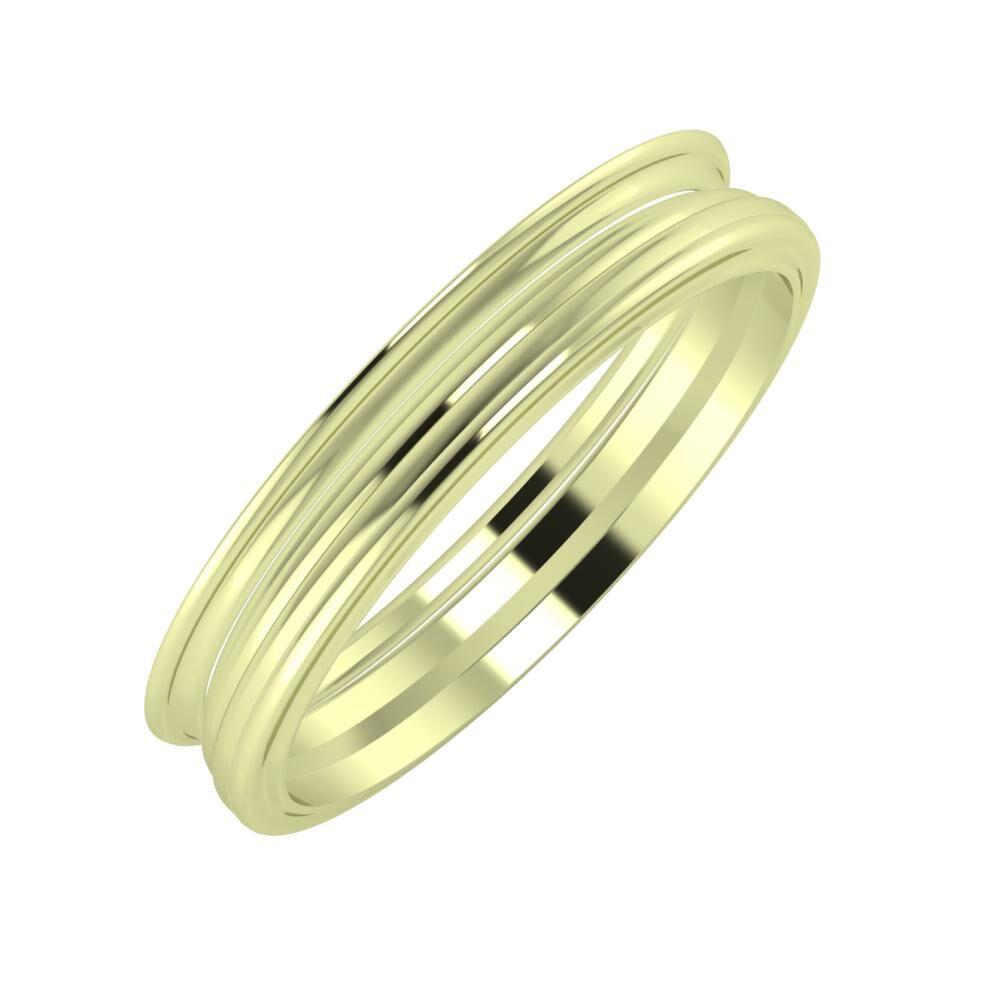 Agrippína - Aida - Ajra 4mm 14 karátos zöld arany karikagyűrű