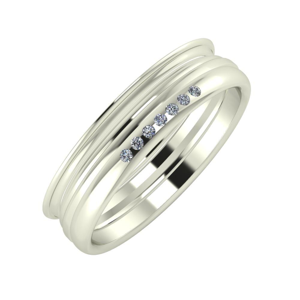 Agrippína - Aida - Albertina 5mm 14 karátos fehér arany karikagyűrű