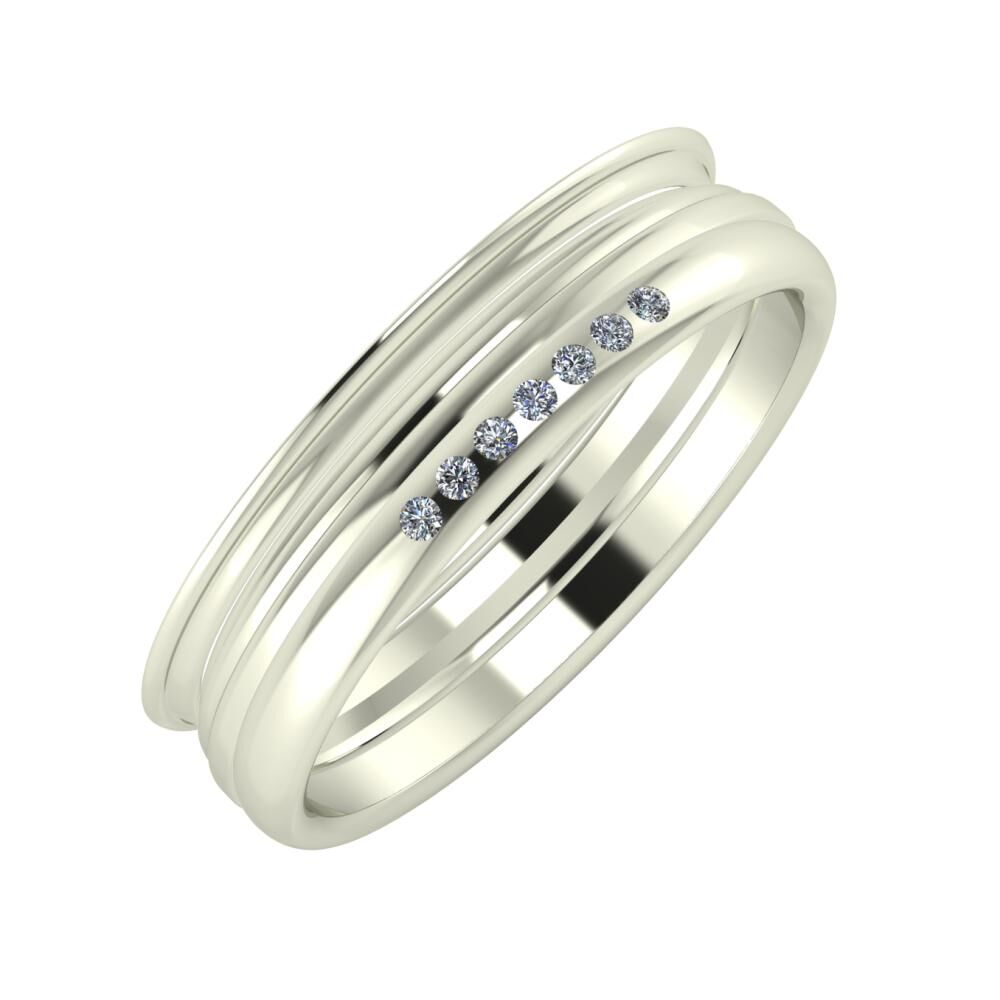 Agrippína - Aida - Albertina 5mm 18 karátos fehér arany karikagyűrű