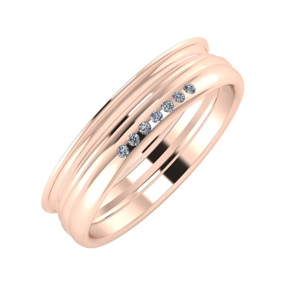 Agrippína - Aida - Albertina 5mm 14 karátos rosé arany karikagyűrű