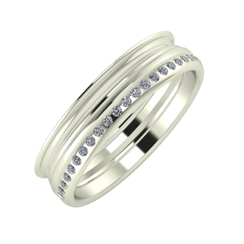 Agrippína - Aida - Aldea 5mm 18 karátos fehér arany karikagyűrű