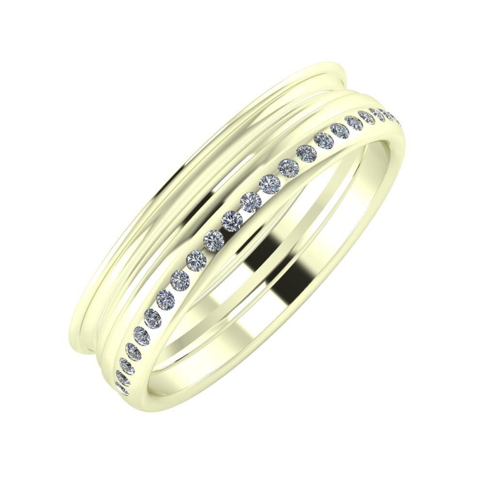 Agrippína - Aida - Aldea 5mm 22 karátos fehér arany karikagyűrű