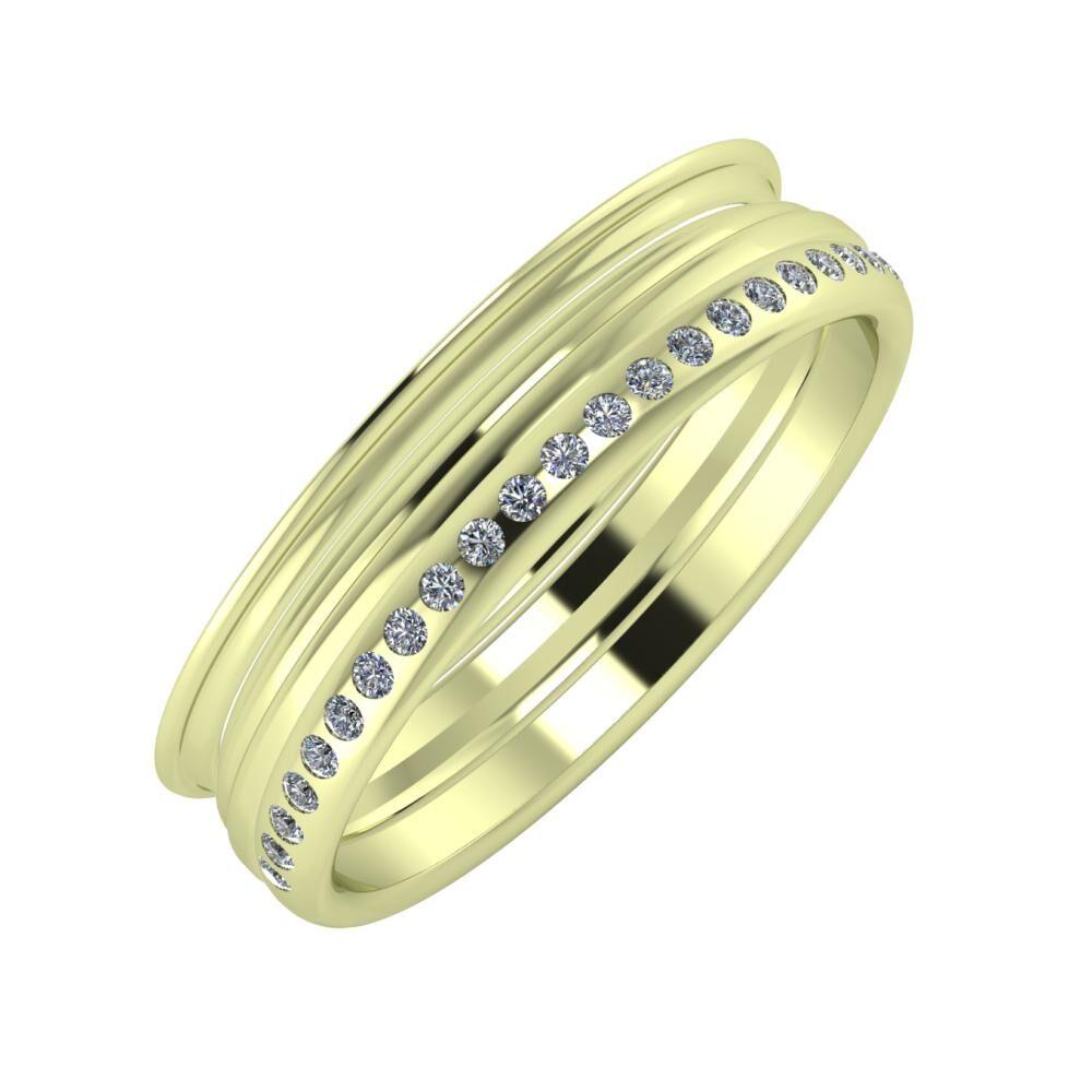 Agrippína - Aida - Aldea 5mm 14 karátos zöld arany karikagyűrű