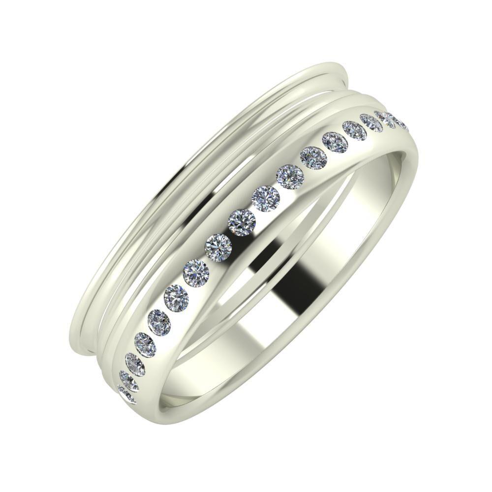 Agrippína - Aida - Aldea 6mm 14 karátos fehér arany karikagyűrű