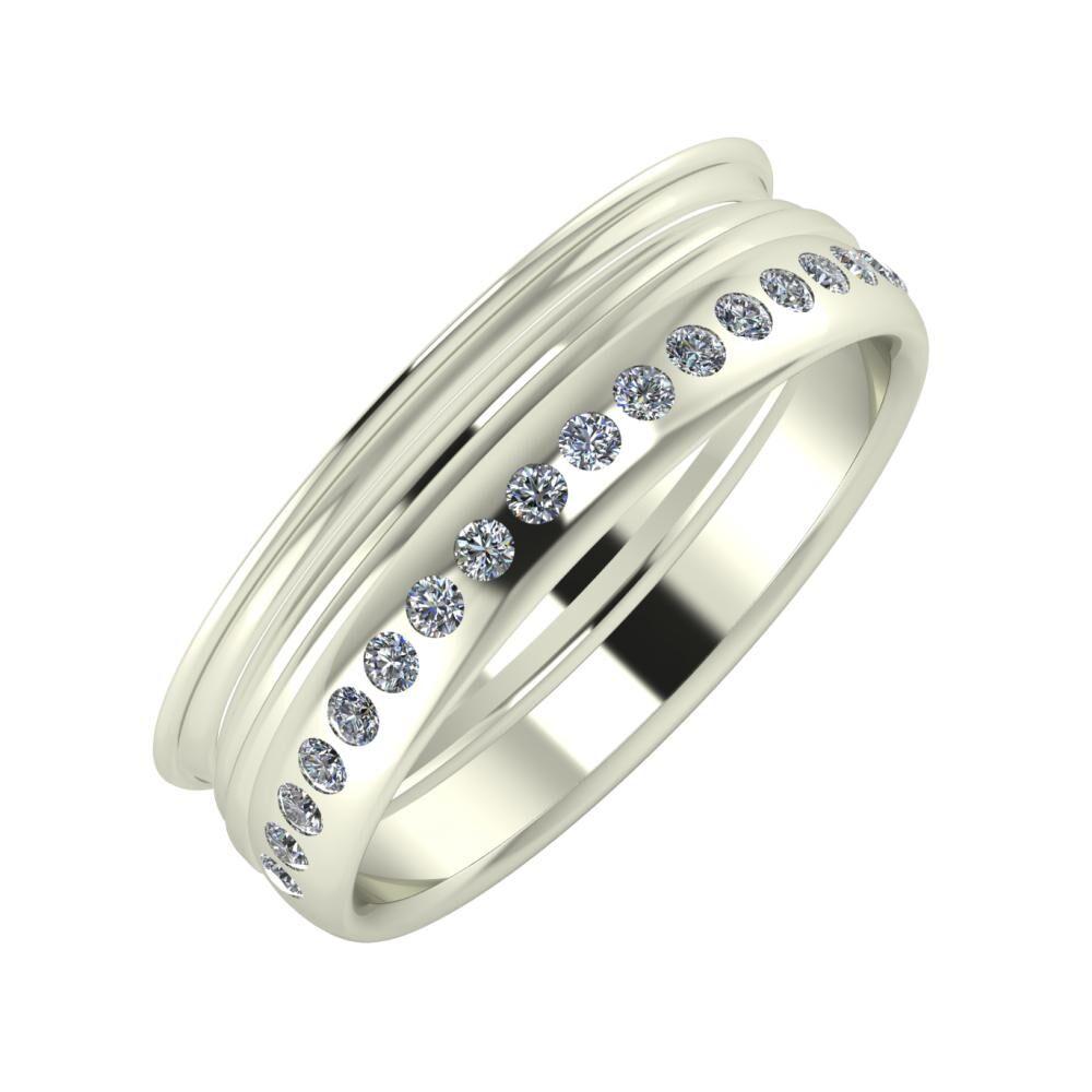 Agrippína - Aida - Aldea 6mm 18 karátos fehér arany karikagyűrű