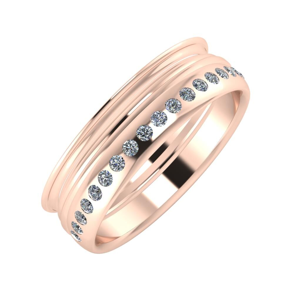 Agrippína - Aida - Aldea 6mm 18 karátos rosé arany karikagyűrű